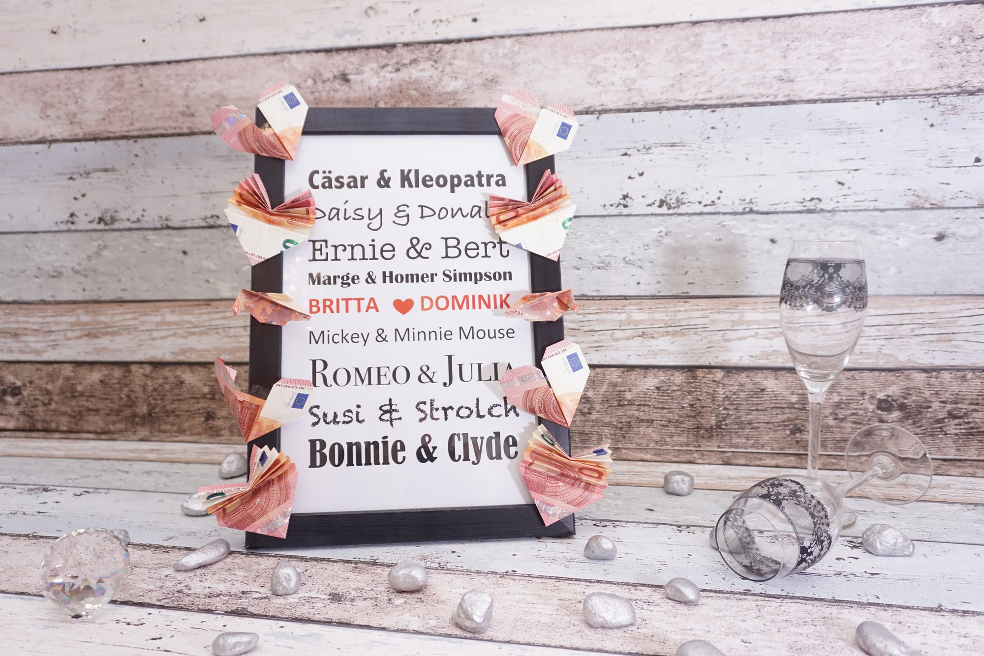 Promi-Bilderrahmen als Geldgeschenk zur Hochzeit